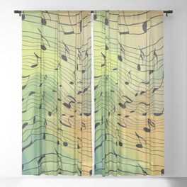 Music notes II Sheer Curtain
