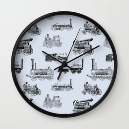 Antique Steam Engines // Steel Grey Wall Clock