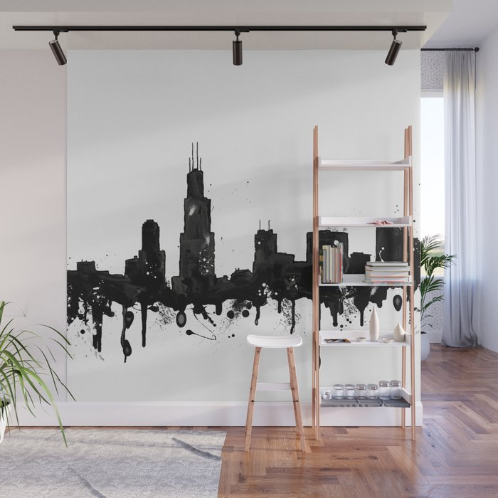 Watercolor Chicago Skyline Wall Mural