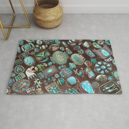 Vintage Navajo Turquoise stones Rug
