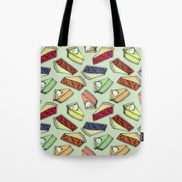 Easy As Pie - cute hand drawn illustrations of pie on sage green Tote Bag