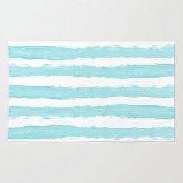 Aqua Blue- White- Stripe - Stripes - Marine - Maritime - Navy - Sea - Beach - Summer - Sailor 2 Rug