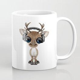 Cute Musical Reindeer Dj Wearing Headphones on Blue Coffee Mug