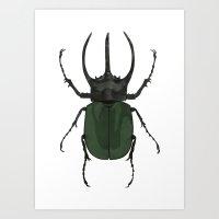 atlas Art Prints featuring Atlas Beetle Insect Digital Watercolor Painting Art Print- minimalist art - gallery wall art - anima by Kelsi Eldredge