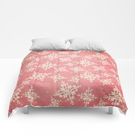 Red and Gold Snowflakes 1 Comforters