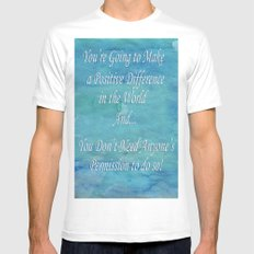 A Positive Difference MEDIUM White Mens Fitted Tee