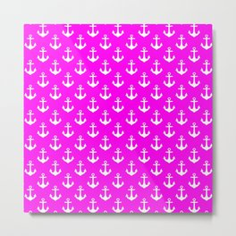 Anchors (White & Magenta Pattern) Metal Print