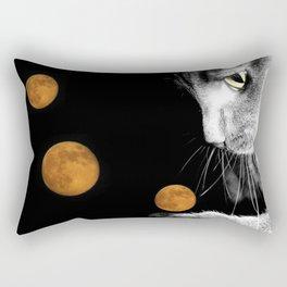 Silver Cat and Moon Rectangular Pillow
