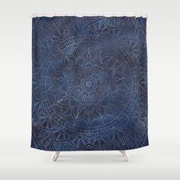 Vintage Circle of Life Mandala full color on blue swirl Distressed Shower Curtain