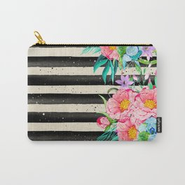 Modern stripes and tropical flowers hand paint Carry-All Pouch