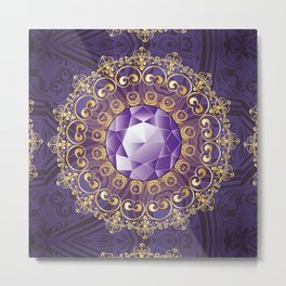 Decorative Background with Round Amethyst Metal Print
