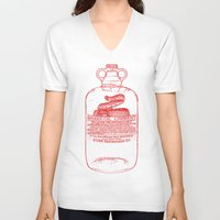 oil V-neck T-shirts featuring snake oil by looseleaf