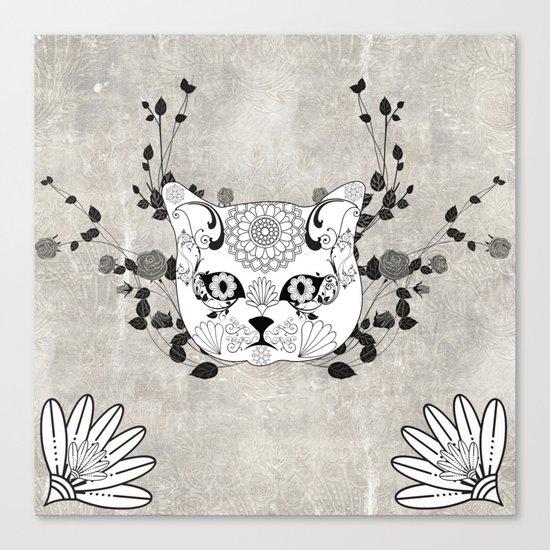 Wonderful sugar cat skull Canvas Print