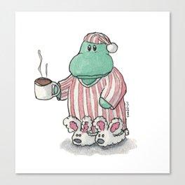 I need coffee; sleepy hippo illustration Canvas Print