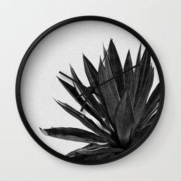 Agave Cactus Black & White Wall Clock