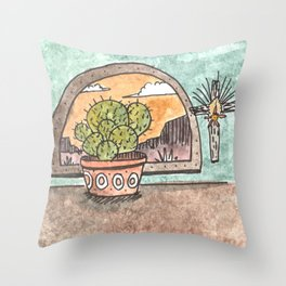 New Mexico Sunset With Cactus & Cross Throw Pillow