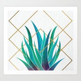 Modern Succulent - metallic accents Art Print