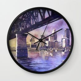 Louisville, KY skyline at sunset.  Watercolor painting of Louisville, Kentucky skyline at sunset Wall Clock