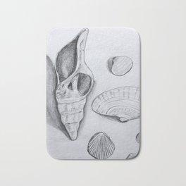 Sea Shells Pencil Drawing Bath Mat