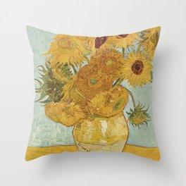 Vincent Van Gogh - Still Life: Vase with Twelve Sunflowers (1881) Throw Pillow