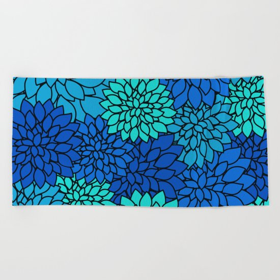 Floral Pattern - Shades of Blue Flower Patterns Beach Towel