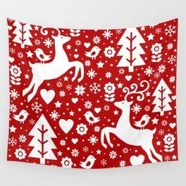 Scandinavian Christmas pattern Wall Tapestry