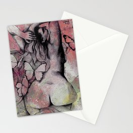 Sugar Coated Sour: Pomegranate (nude curvy pin up with butterflies) Stationery Cards