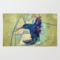 hummingbird Area & Throw Rugs featuring Hummingbird by UvinArt