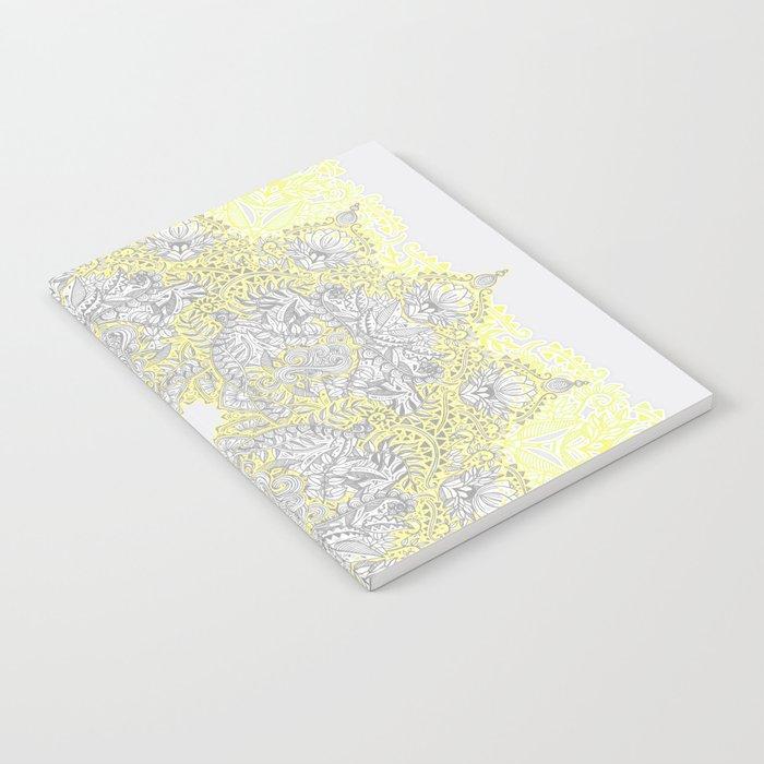 Sunny Doodle Mandala in Yellow & Grey Notebook