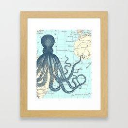 Map Octopus Framed Art Print
