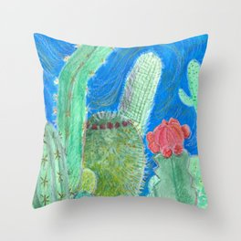 Cactus relationships Throw Pillow