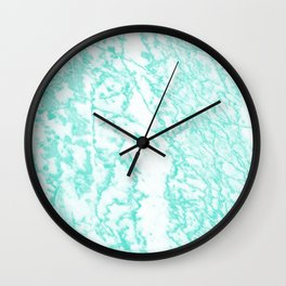 Modern abstract teal white marble pattern Wall Clock