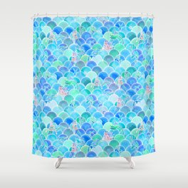 Bubbly Ocean in Aqua and Turquoise Shower Curtain