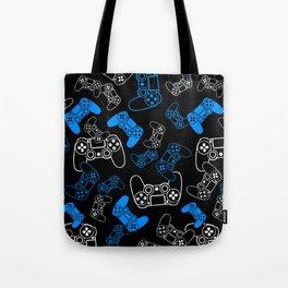 Video Games Blue on Black Tote Bag