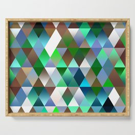 Bright Colorful Funky Retro Triangles Polygon Mosaic Pattern Serving Tray