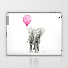 Elephant Watercolor Pink Balloon Whimsical Baby Animal Nursery Girl Art Laptop & iPad Skin
