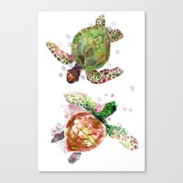 Turtles, Olive Green Cherry Colored Sea Turtles, turtle Canvas Print