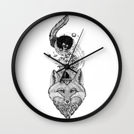Fox Space Forest Wall Clock