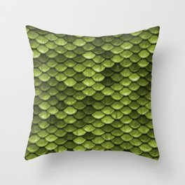 Mermaid Scales   Green with Envy Throw Pillow