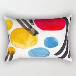 Mid Century Modern Abstract Juvenile childrens Fun Art Primary Colors Watercolor Minimalist Pop Art Rectangular Pillow