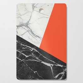 Black and White Marble with Pantone Flame Color Cutting Board