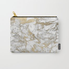 Modern chic faux gold white elegant marble Carry-All Pouch