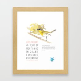 45 Years of Monitoring Landbird Populations - Yellow-breasted Chat   Framed Art Print