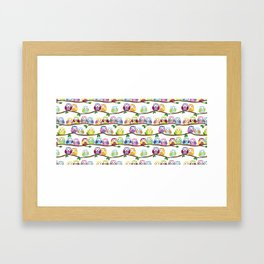 Colorful Owls On Branches Framed Art Print