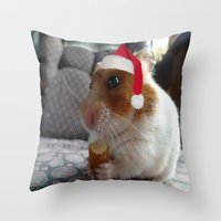 hamster Throw Pillows featuring Christmas Hamster by VHS Photography