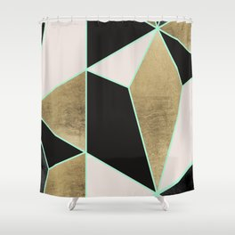 Modern Geometric Faux Gold Pink Black Marble Shower Curtain