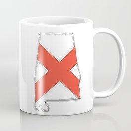 Alabama Map with Alabaman Flag Coffee Mug