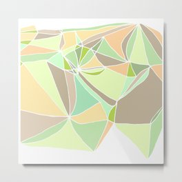 Pastel mosaic  Abstract artwork  Mint peach beige Metal Print