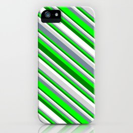 Eyecatching Light Gray, Light Slate Gray, Lime, Green, and White Colored Striped Pattern iPhone Case