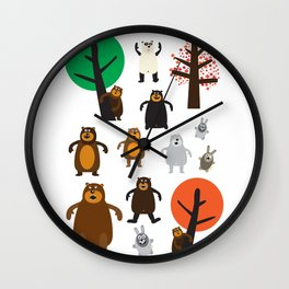 Bears, grizzly and other Wall Clock